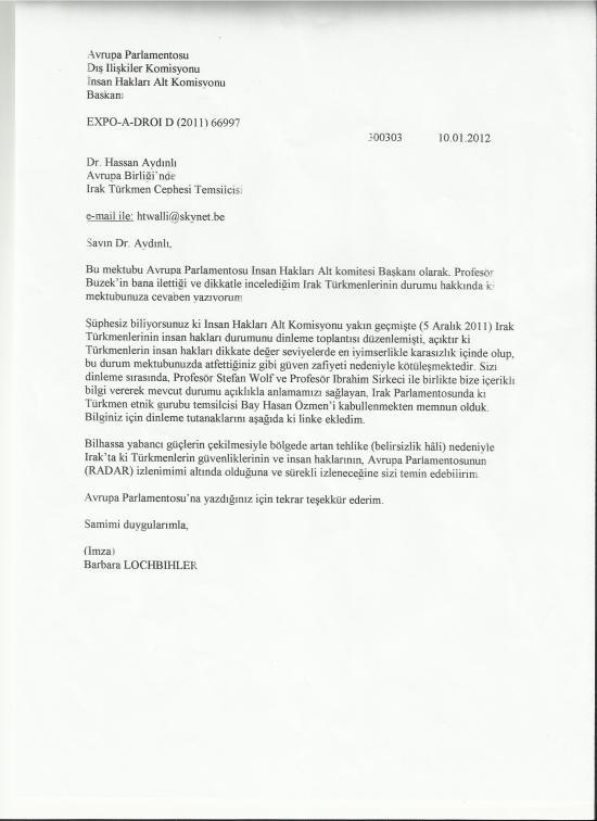 Barbara Lochbihler's letter  Turkish translation